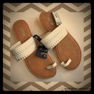 Apt. 9 || White Studded Low Wedge Sandal